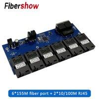2 RJ45 6 155 M Porta de fibra SC 20 KM Ethernet switch Fast Ethernet para Conversor De Fibra Óptica Media Converter 10 /100 M PCBA|Transmissão e cabos| |  -