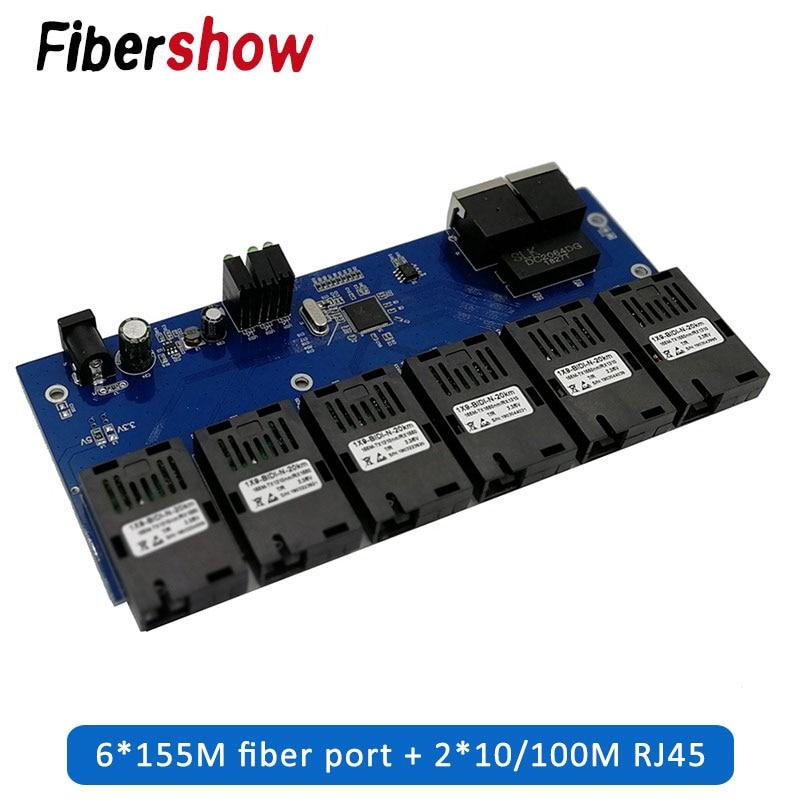 2 RJ45  6 155M SC Fiber Port  Fast Ethernet Switch Converter 20KM Ethernet Fiber Optical Media Converter 10/100M PCBA