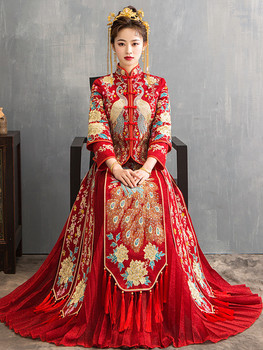 Red Oversize 4XL Bride Dress Wedding Dress Retro Dress Chinese Cheongsam Dress High Quality Embroidery Peacock Long Section