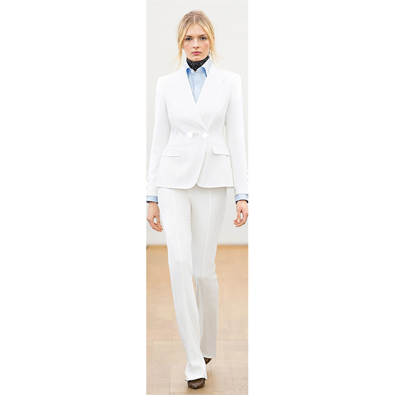 Jacket+Pants Women Business Suits White Long Sleeve Slim Female Office Uniform Ladies Formal Trouser Suit Blazer Double Breasted