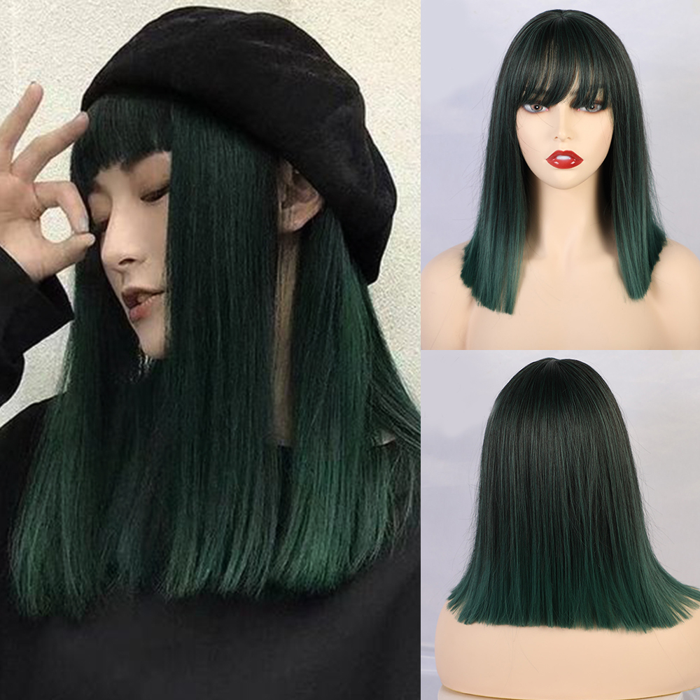 Blonde Unicorn Straight Synthetic Wig With Bangs For Women Medium Length Hair Bob Wig Ombre Green Bobo Hairstyle Cosplay Wigs