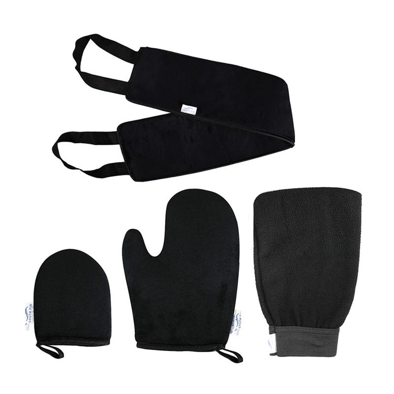1 Set Of 4PCS Soft Bath Towel Gloves Kit Flocking Gloves Bath Towel Set Dead Skin Remover Bath Towel Gloves Kit For Home