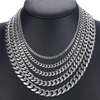 Curb Cuban Mens Necklace Chain Gold Black  Silver Color Stainless Steel Necklaces for Men Fashion Jewelry 3/5/7/9/11mm DKNM07 3 11mm men s bracelets stainless steel curb cuban link chain silver color black gold bracelet men women jewelry gift 7 10 kbm03