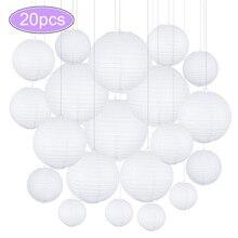 20 pçs/lote 4, 6, 8, 10, lampião de papel chinês de 12 polegadas, bola de pendurar para decoração de casamento, decoração de festa, tamanho misto branco