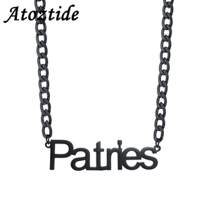 Atoztide New Customized Stainless Steel Name Letter Black Cool Choker Cuba NK Chain Necklace Handsom Pendant Nameplate Gift