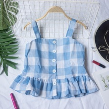 Red Pleated Back Checked Top Summer Tops For Women Clothes 2019 Cute Straps Vest Korean Fashion Casual Camisole College style