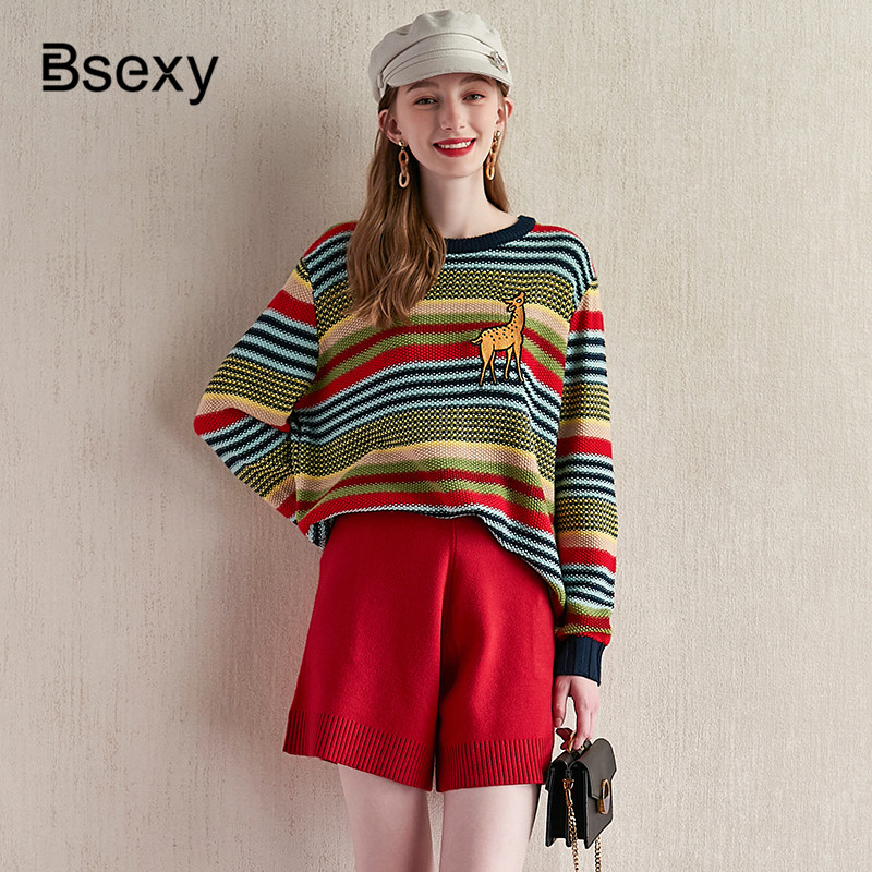 2019 New Autumn Rainbow Striped Women Loose Sweater Pullovers Runway Brand Designer Embroidery Deer O-neck Casual Knitted Tops