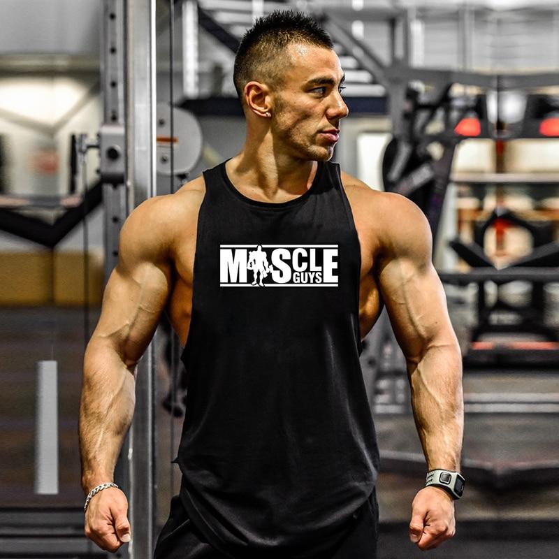 Mens Tank Tops Sleeveless Shirt Gym Tank Top Fitness Wear Arm Cut Clothing For Men Cotton Vest Man Canotte Bodybuilding Clothes
