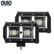 цена на 2pcs Off-road Car Light Bar 96W 5inch Spot Headlight 4x4 Truck Boat Bus ATV SUV Tractor Trailer Work Light 12V Automotive Lamp