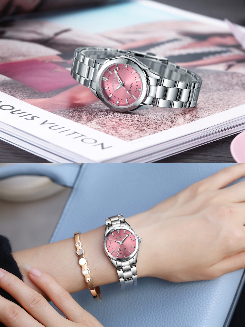 CHRONOS Watches Ladies Business-Watch Quartz-Movement Rhinestone Japanese Women Luxury