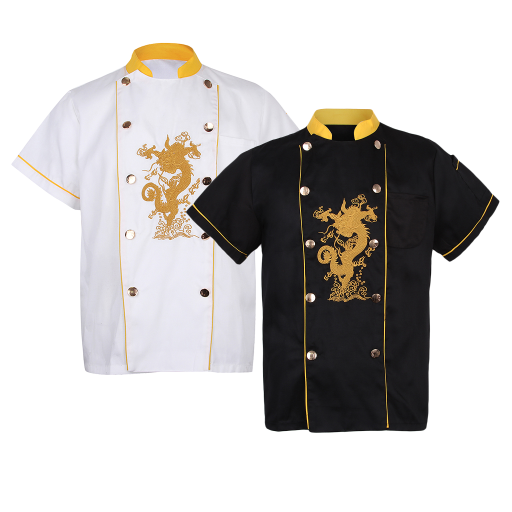 Chef Coats Summer Short Sleeves Unisex With Embroidery Dragon Chef Jackets