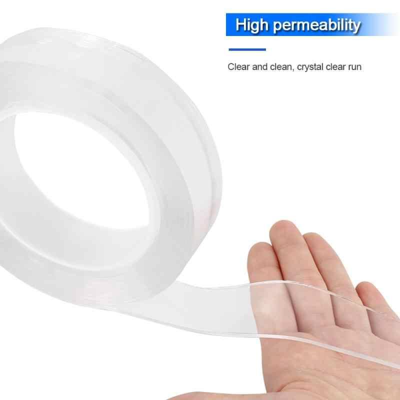 1/2/3 メートル透明マジック洗える再利用可能な多機能両面痕跡粘着テープループディスクネクタイ接着剤ガジェット
