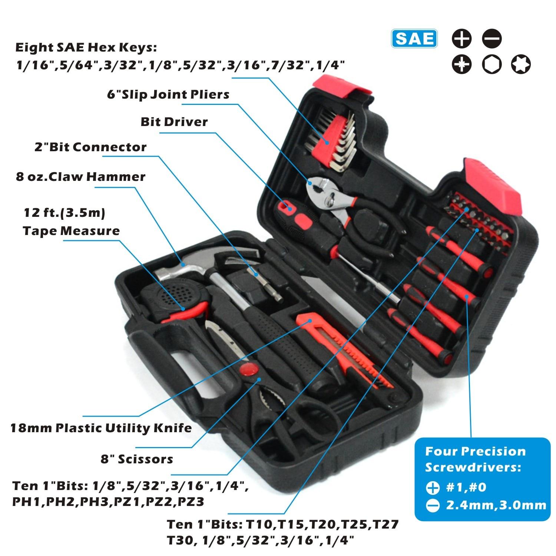 Купить с кэшбэком 39 Piece DIY Household Home Hand Tool Combination Package Hand Hammer Plier Screwdriver Knife Kit Plastic Toolbox Storage Case