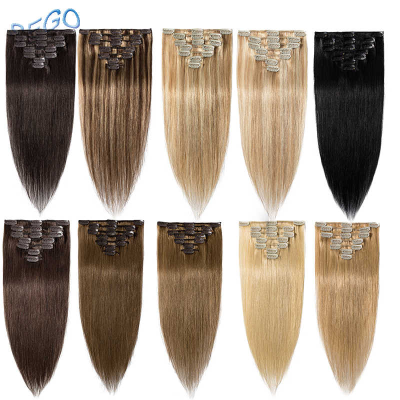 "SEGO 15""-22"" 65-75g Straight Clip in Human Hair Extensions Machine Made Non-Remy 7PCS/set Real Brazilian Natural Hair"