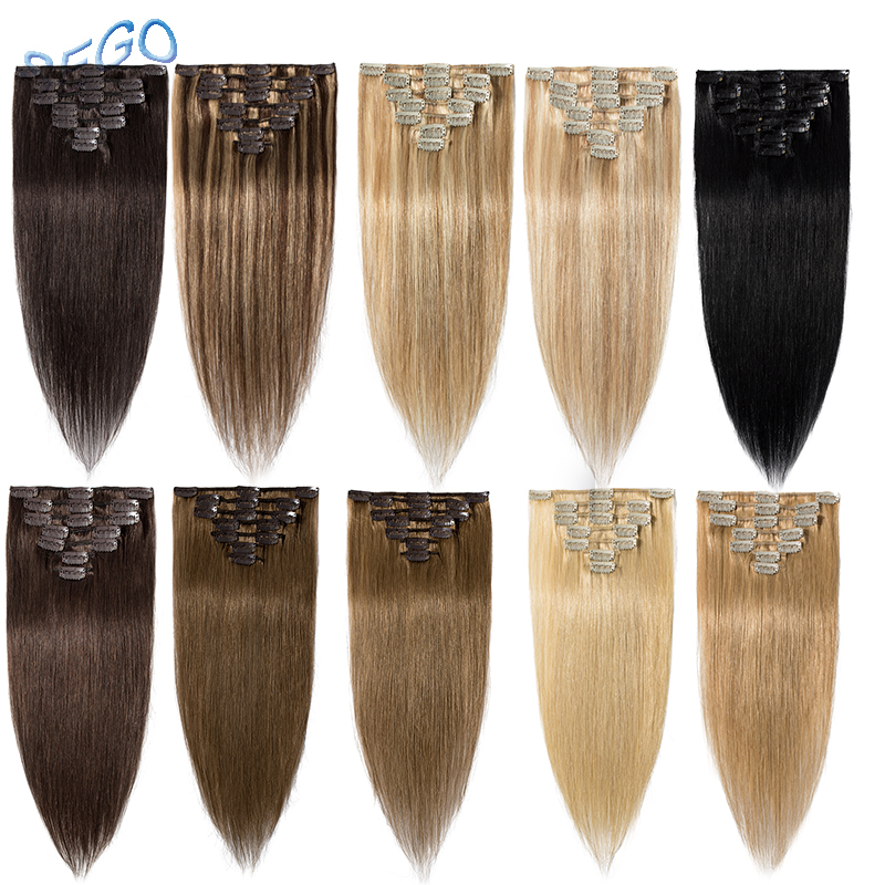"SEGO 15""-22"" 70G Straight Clip In Human Hair Extensions Machine Made Non-Remy 7PCS/set Brazilian Hair Pure And Piano Color"
