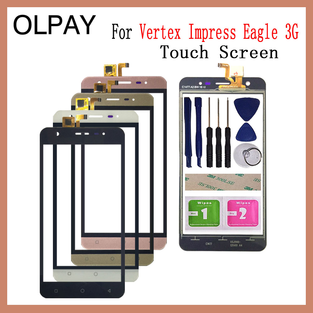 OLPAY 5.0'' New 100% Original For Vertex Impress Eagle 3G Touch Screen Glass Digitizer Panel Lens Sensor Free Adhesive And Wipes