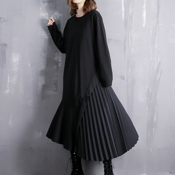 Women Summer Dress Pleated Ruffles Asymmetric Hem Plus Size Long Sleeve Maxi Dresses Elegant Black Casual Patchwork Fashion 2020 asymmetric long sleeve top