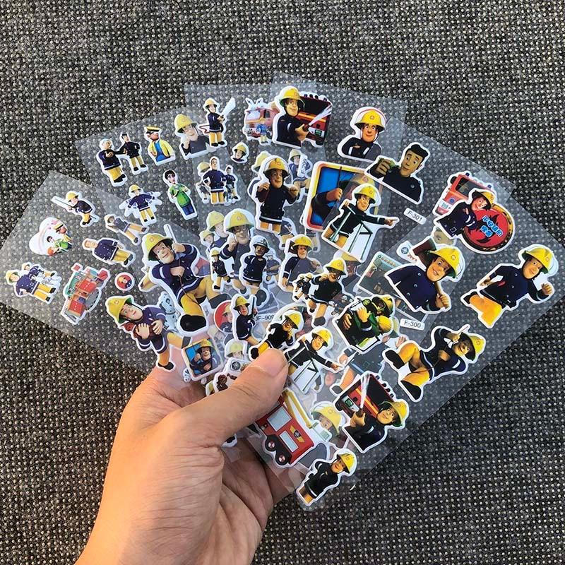 6pcs/lot 17cm 3style Cartoon Anime Fireman Sam Bubble Sticker For Kids PVC Education Collection Toy