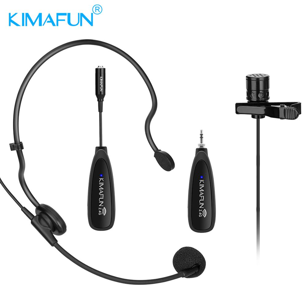 KIMAFUN 2 4G Wireless 2 in 1 Headset Lavalier Microphone System with Transmitter Mini Lapel Mic Portable Receiver in Microphones from Consumer Electronics
