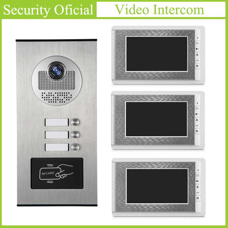 Video Intercom Kits Waterproof Outdoor Station 4-Wire 7 Inch LCD Color Monitor Video Door Phone Intercom System For 3-apartments