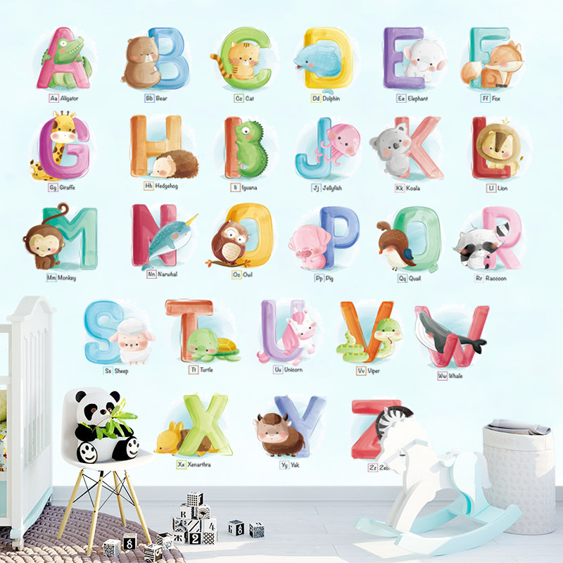 For Kids Rooms Alphabet Wild Animals Wall Stickers Wall Decal Mural Poster