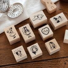 Винтажный мультяшный Дневник для девочек, деревянный штамп, сделай сам, деревянные и резиновые штампы для скрапбукинга, дневник в стиле Скрапбукинг, стандартный штамп