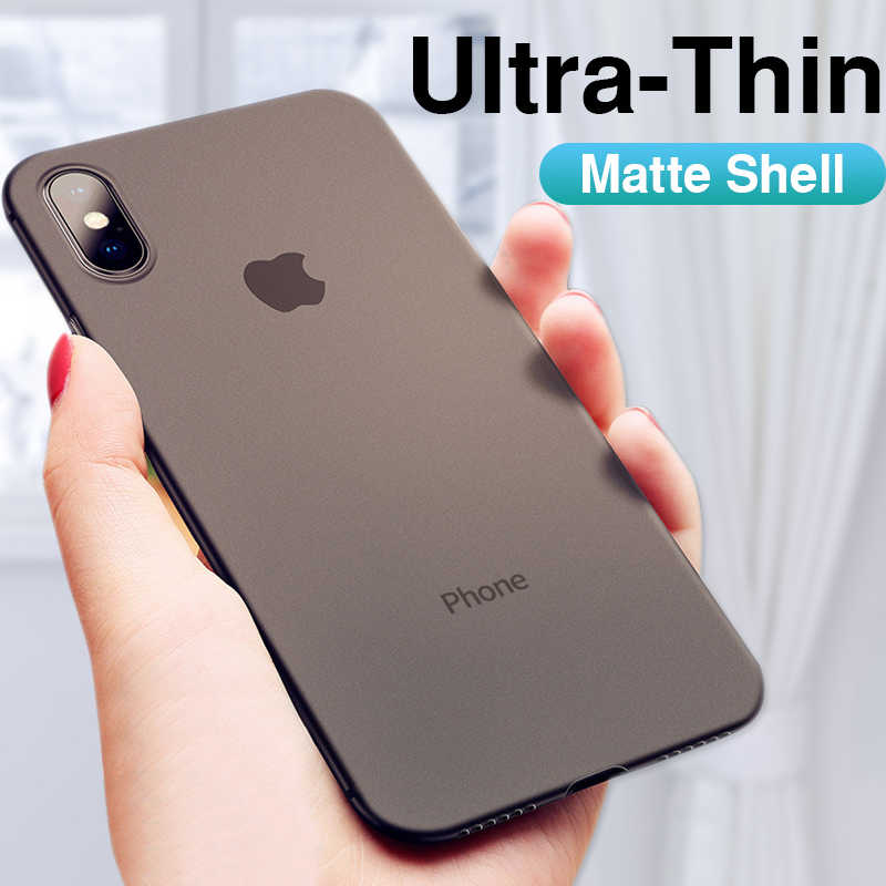Ultra Dunne logo PC Back Phone Case Op De Voor IPhone 6 6s 7 8 Plus Volledige Cover Op voor IPhone X XR XS Max Shockproof Bumper Case