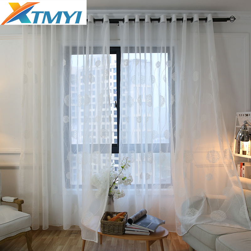 White Linen Embroidered Voile Curtains
