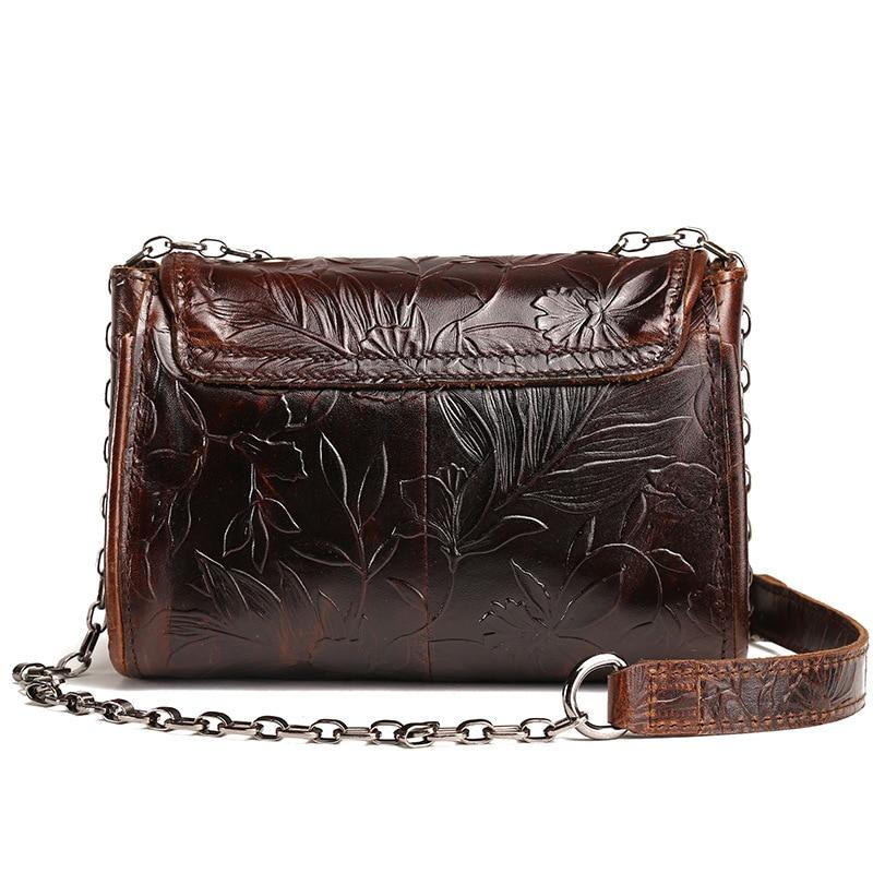 AETOO new vintage Embossed leather bag ladies head cow leather oil wax skin handbags retro shoulder bag Messenger small bag