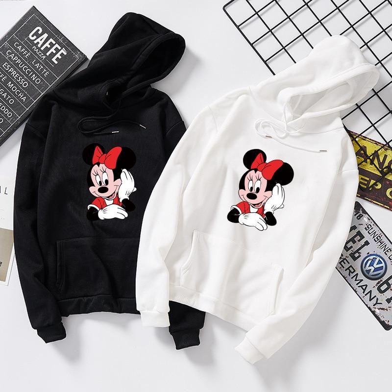 Women Cotton Hoodies Autumn Winter Minnie Mickey Cartoon Hoodie Sweatshirt Clothes Pullover Long Sleeve Plus Size 5XL White