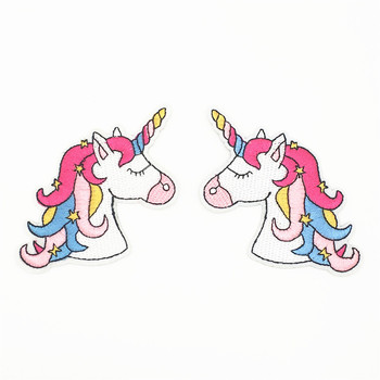 Cartoon Hippie Unicorn Patches Iron On Embroidered Patch For Clothing Applique DIY Stickers On Clothes Kids T-shirts Dress