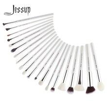 Jessup brochas de maquillaje para base de maquillaje en polvo, color blanco/plateado, 20 piezas, maquillaje profesional, T245