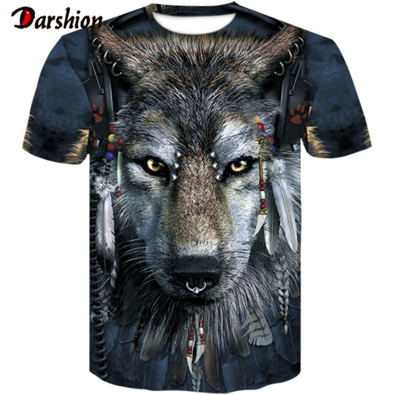 Men's New Summer Personalized O-neck T-Shirt Wolf Print T-Shirt 3D Men's T-Shirt Novelty Animal Tops T-Shirt Men's Short Sleeves