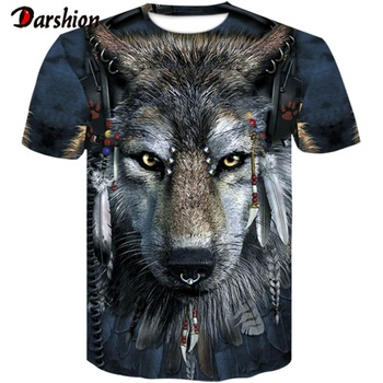 цена на Men's New Summer Personalized O-neck T-Shirt Wolf Print T-Shirt 3D Men's T-Shirt Novelty Animal Tops T-Shirt Men's Short Sleeves
