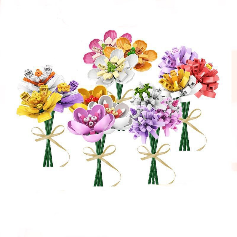 Single Bouquets Building Blocks Michelia Saffron Hibiscus Bonsai Camellia Bricks Model MOC Flowers Accessories DIY Toys Kids