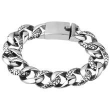 цена на 18mm Men's Bracelet Silver 316L Stainless Steel Round Curb Cuban Link Chain Bracelets Male Jewelry Hot Gift for Men 21.5cm