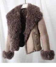 יוקרה חם אמיתי כבש טבעי פרווה מעיל זמש עבה את לנשים בתוספת גודל 180423- 1