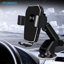 FDGAO Quick Charge Qi Wireless Car Charger Mount 10W Fast Charging Air Vent ผู้ถือโทรศัพท์มือถือสำหรับ Samsung S10 iPhone 11 XS XR X 8
