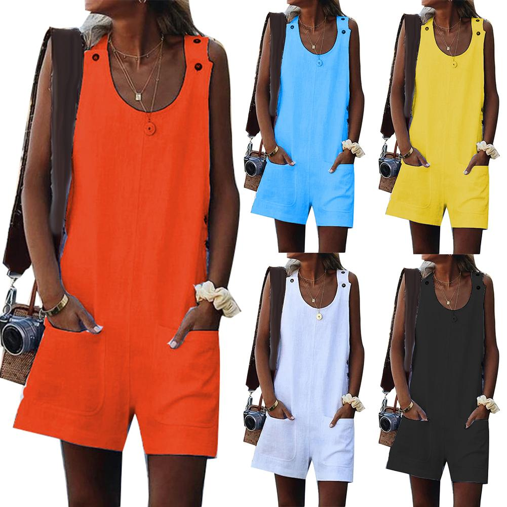 Casual Women Jumpsuit Plus Size Summer Lady Solid Color Round Neck Cotton Linen Sleeveless Jumpsuit Shorts Romper Great Gifts