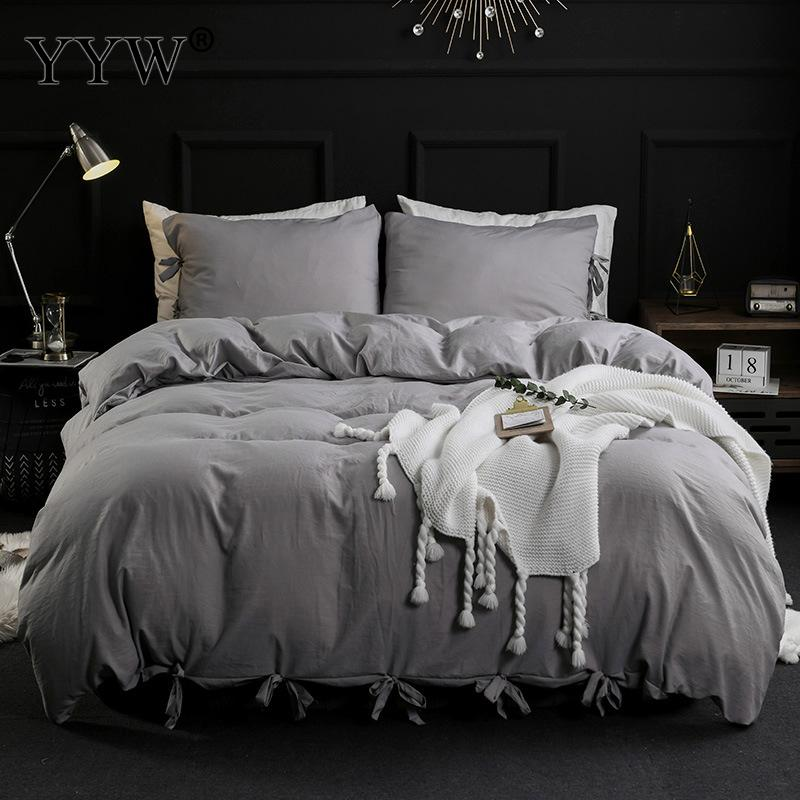 3pcs Bedding Set Bed Linens Comforter Bedding Set Ropa De Cama With Tassel Gray White Bedclothes Set 2 People Polyester Bed Set
