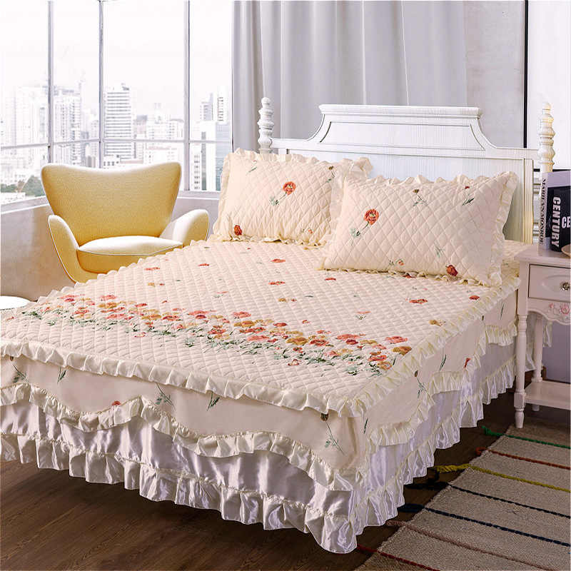 Bed Skirt Cotton Quilted Lace Bedskirt Floral Ruffled Bed Skirt Pastoral Cotton Quilted Lace Bedspread Drop Ship