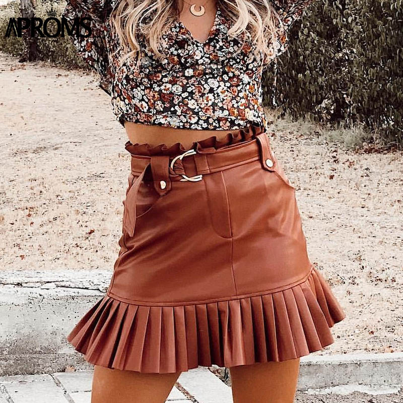 Aproms Vintage PU Leather High Waist Skirt Women Autumn Winter Streetwear Ruffle A-line Short Mini Skirts Ladies Sash Tie Bottom