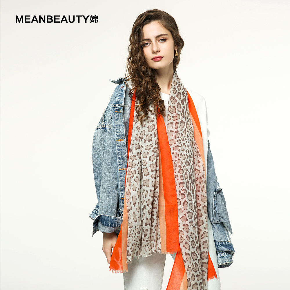 New Sunscreen Beach Scarf Coloured Leopard Scarf And Various Printed Silk Scarves In 2019