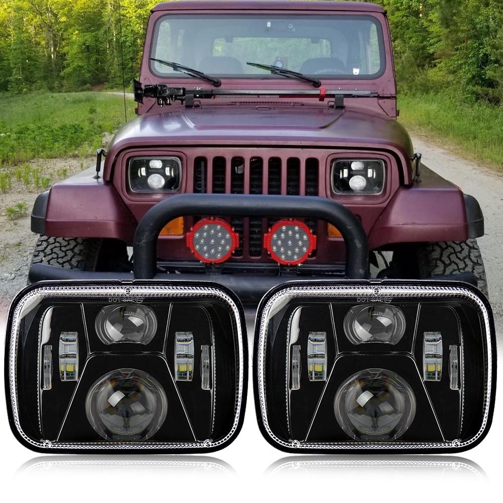 7x6 LED Headlight for 1986-1995 Jeep Wrangler YJ 1984-2001 Cherokee XJ Headlamp