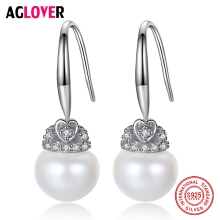 AGLOVER Drop Earrings Natural Fresh Water Oval Pearl 925 Sterling Silver Zircon Earrings Pearl Jewelry Women Wedding/Party Gift