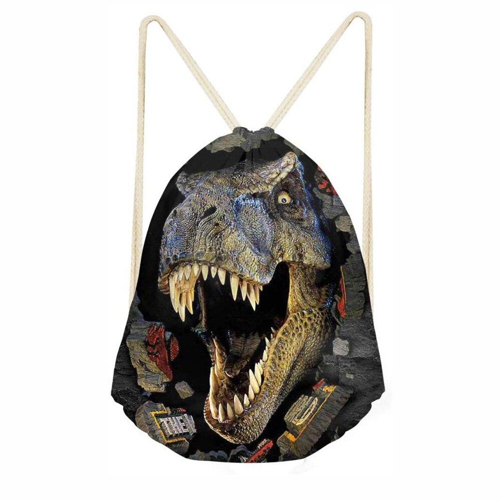 Cool Dinosaur Women Men Drawstring Backpack College Students Kids School Drawstring Bag Boys Girls Sack Bag Mochila Feminina