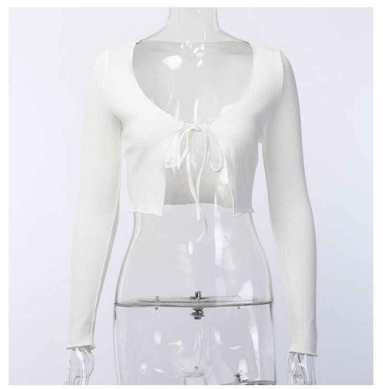 Delle Signore Delle donne Lace-Up Bow Anteriore Aperto Cardigan Sexy Ritagliata Maniche Lunghe Magliette e camicette Camicetta Blu Bianco