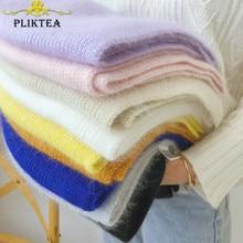 High Quality Solid Color 70% Angora Rabbit Fur Scarf Blue Purple Women Winter Merino Wool Scarves Black White Female Foulard