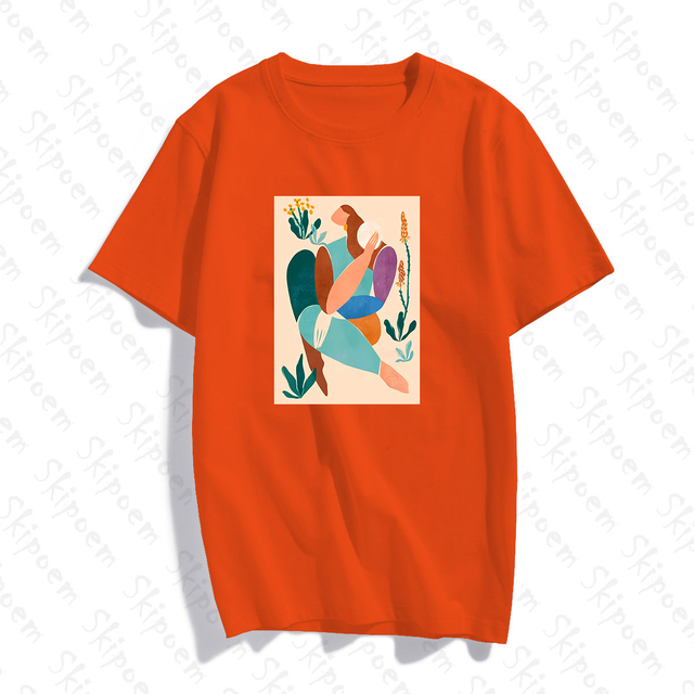 Abstract Art Woman With Green Plants T-shirt Women Vintage Aesthetic 8 Colors Short Sleeve Cotton Tee Shirt Femme Summer Tops 4