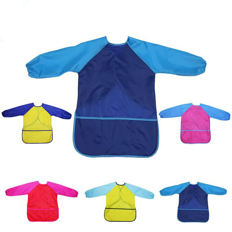 Art Aprons Long Sleeve Kids Children Smock Waterproof Painting Apron Toddler Feeding Bibs Burp Cloths Children Painting Clothes
